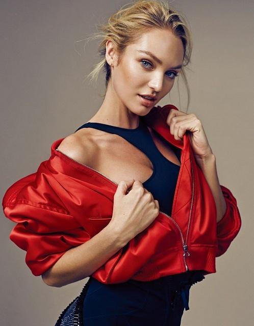 кэндис свейнпол фото в черном платье и красной куртке макияж