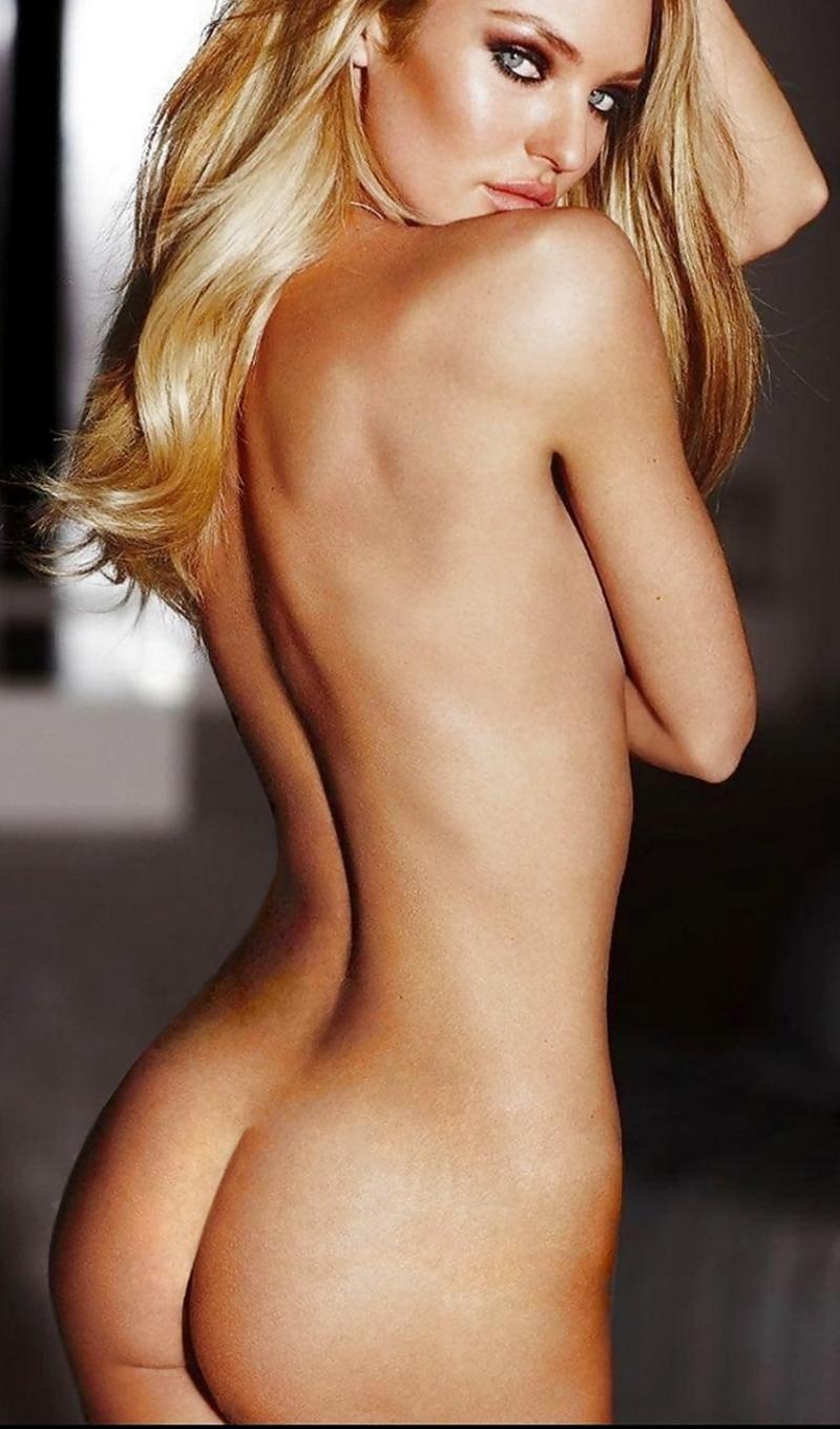 Кэндис Свейнпол голая стоит боком показывая свою красивую спину, макияж яркий