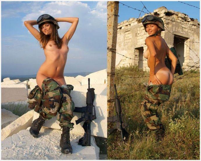 голые девушки в военной форме на фото с голыми сиськами в каске рядом оружие