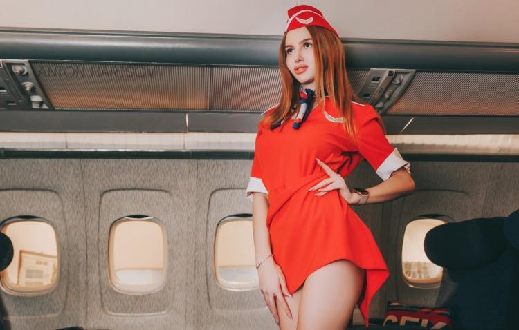 Красивые стюардессы в коротком платьице в самолете