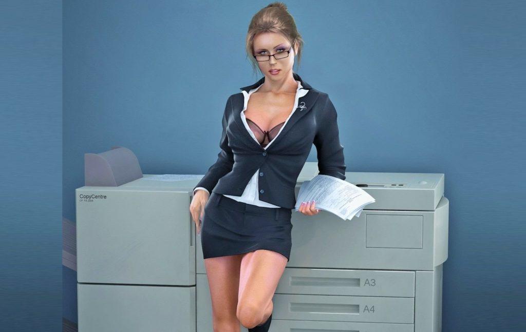 Сексуальная офисная девушка блондинка в очках в синем костюме короткой юбке, пиджак расстегнут открывает вид на шикарную грудь стоит возле ксерокса