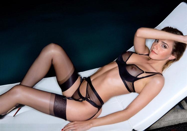 эмма уотсон горячие фото в прозрачном черном нижнем белье тонких чулочках лежит на спине