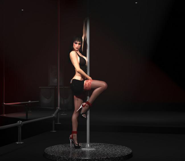 девушки стриптизерши красивая брюнетка с короткой стрижкой у шеста стоит приподняв одну ножку, в чулках на каблуках
