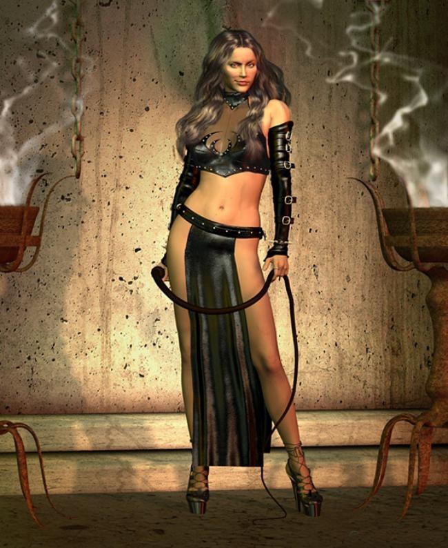 Красивая девушка одетая под жрицу в руках бич