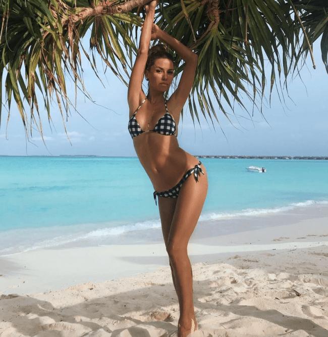 Она на пляже в купальнике бикини подняв руки держится за пальму