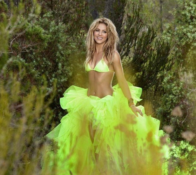Шакира фото на фоне джунглей в ярко-зеленом костюме из лифчика и пышной юбки, волосы распущены сама мило улыбается