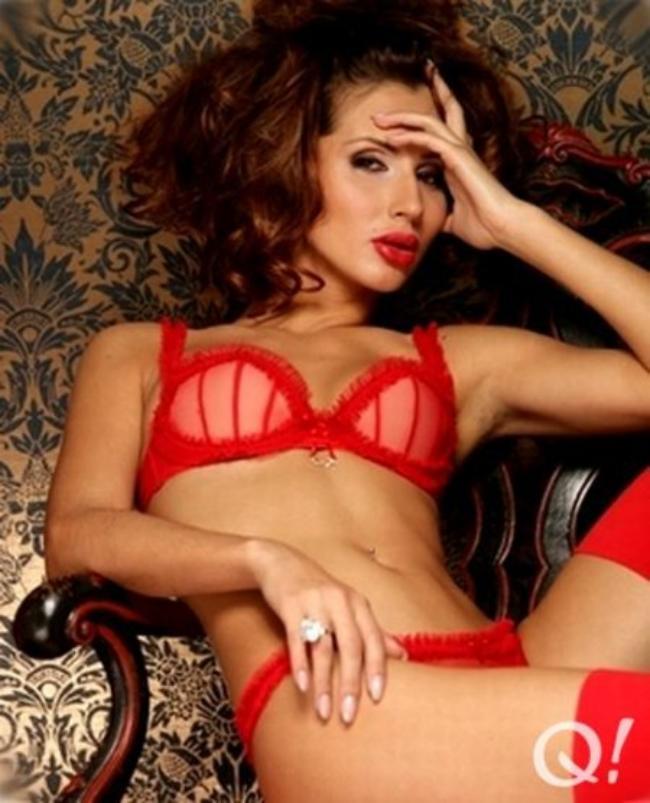 Лобода Светлана фото в красном нижнем белье, красных чулках цвет волос шатенка