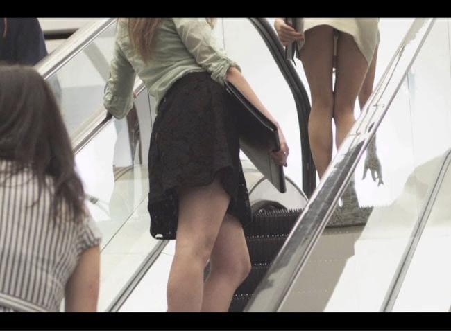 Девушки поднимаются на эскалаторе вид снизу.