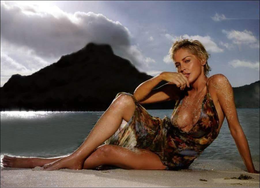 Шэрон Стоун короткая стрижка сидит в прозрачном платье на закате на песчаном пляже на берегу моря грудь видна