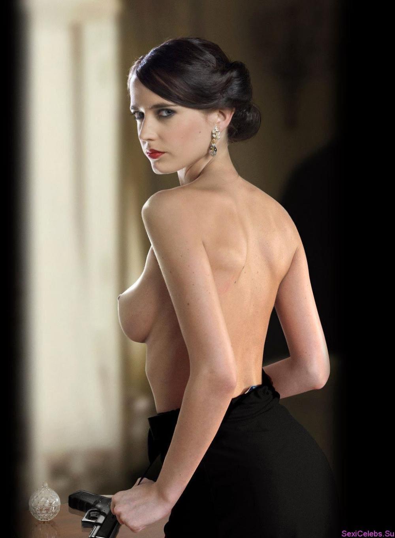 Ева Грин голая со спины вполоборота стоит волосы подобраны, грудь, стоячие соски