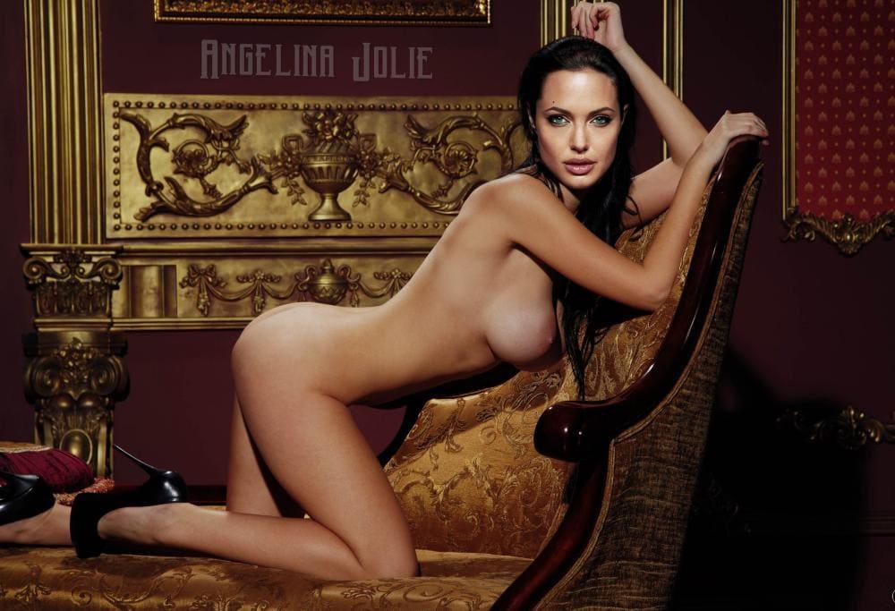 Голая Анджелина Джоли стоит на коленях в кресле, туфли на высоком каблуке
